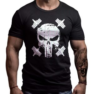skull-born-lion-fitness-tshirt